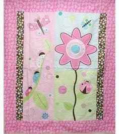 Nursery Fabric-Dark 3-D Flower Panel: nursery fabric: fabric: Shop | Joann.com