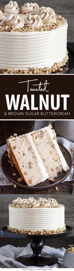 Torta de la nuez con el azúcar marrón crema de mantequilla |  por Olivia Bogacki para TheCakeBlog.com