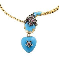 Antique Victorian 18k Gold Enamel Garnet Snake heart Necklace Locket [01201603]