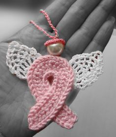 Items similar to Crochet pink ribbon  Angel guardian breast cancer awareness ornament on Etsy