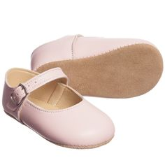 Girls Pale Pink Leather 'Mary Jane' Pre-Walker Shoes for Girl by Early Days. Discover more beautiful designer Shoes for kids online at Childrensalon.co.