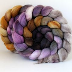 Handpainted Polwarth Wool Top - Hand Dyed Wool Roving - Spinning and Felting Fiber - 4ozs - HAZE