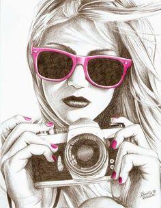 ragazza con macchina fotografica fatto a matita e lasciata in bianco e nero