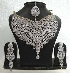 nice Off White Stone Studded Necklace Set Online Shopping: JKU263 by post_link