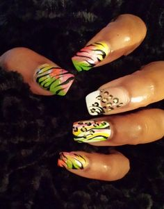 Brite colors with zebra by JHines from Nail Art Gallery