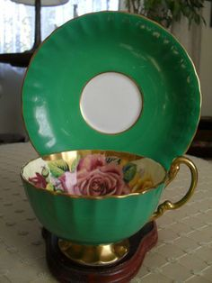 VINTAGE~AYNSLEY~ROSES ON GREEN~CUP & SAUCER~GILT*SIGNED