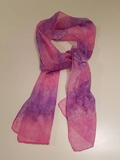Hand painted silk scarf pink/purple 25 x 150 cm Painted Silk, Hand Painted, Summer Evening, Spring Summer, Silk Scarves, Pink Purple, Fashion Accessories, Etsy Shop, Check