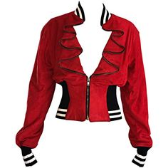 Rare Vintage Byron Lars 1990s Red Leather Suede Varsity 90s ' Zipper ' Jacket 1 Saw one on ebay for $40 and kicking myself for not grabbing it!