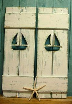 ONE White Weathered Sailboat Cutout Wood Beach by CastawaysHall, $59.00