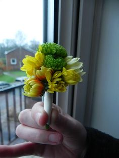 Green pompom chrysanthemum, orange, yellow and white chrysanthemum - mini bouquet style buttonhole - Orchideia Flowers