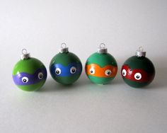 ninja turtle ornaments | Ninja Turtles Christmas Ornament- Set of 4 Hand Painted TMNT Inspired ...