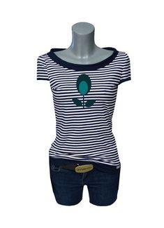 8f7f439b62a3 Details zu DESIGNER SHOP   Iza Fabian - Shirt -BLUE STRIP 4 - blau streifen  blume Damen