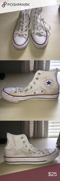 White High Top Converse Men's 5.5 and women's 7.5. These shoes have been worn twice. If you bleach them they will look good as new. Converse Shoes Sneakers
