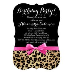 Chic leopard print with purple bow sweet 16 birthday party leopard print black w hot pink bow birthday party paper invitation card stopboris Choice Image