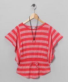 Coral Stripe Top & Necklace - Girls by Speechless on #zulily today!
