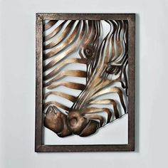 'Zebra' Metal Wall Art. Goes perfectly with the Autumn color scheme i have going on.