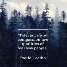 Paulo Coelho - Tolerance and compassion are qualities of fearless - Image Quote Great Quotes, Quotes To Live By, Me Quotes, Motivational Quotes, Inspirational Quotes, Qoutes, Yoga Quotes, Strong Quotes, Change Quotes