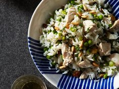 Chicken and Rice Salad with Pine Nuts and Lemon We like to serve this Mediterranean-inspired salad warm, but it's also good slightly chilled. Be sure to check the seasonings, though; cold dishes often need more salt and pepper than those served hot. Lemon Recipes, Wine Recipes, Salad Recipes, Cooking Recipes, Healthy Recipes, Rice Salad, Soup And Salad, Quinoa Salad, Quick Chicken Recipes