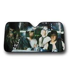 You know how you protect your car / truck / van from Imperial Fighters? The almost universal 58 inch by 27.5 inch Star Wars New Hope Car Sunshade! Yeah! Now your automobile will appear to have Luke Skywalker, Han Solo, Chewbacca, and Obi-Wan Kenobi in it while you aren't in there. Pretty sweet, right? It'll also keep your vehicle from getting super warm while showing off your love of Star Wars. I just wouldn't keep chasing that TIE Fighter headed towards that Moon...wait...that's no Moon…