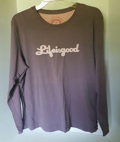 Womens Life Is Good Lavander Long Sleeve Shirt 100 Cotton Large | eBay
