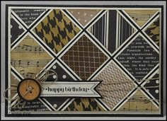Stampin' Up! ... hand crafted quilt card from King's on Paddington ... monochromatic patterned papers ... squares matted and also spaced apart to show base color ... great masculine look ...