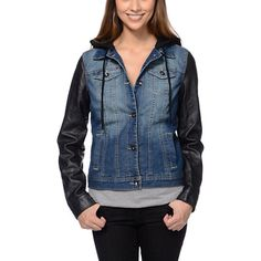 Urban Republic Boys&39 Hooded Jean Jacket w/ Faux Leather Sleeves