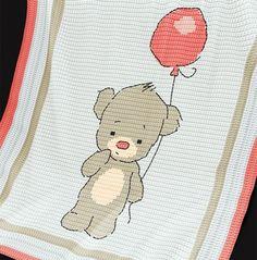 CRCHET Baby Blanket / Afghan pattern - Baby Bear Crochet pattern by Pattern World Baby Afghan Crochet, Manta Crochet, Baby Afghans, Crochet Blanket Patterns, Baby Patterns, Knitting Patterns, Baby Blankets, Crochet Blankets, Crochet Double