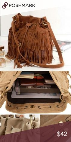 Beautiful Fringed Bag Beautiful Brown faux suede shoulder bag with fringe and adjustable strap Bags Shoulder Bags