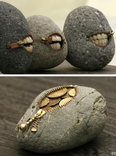 Cobblestone coin purses............Haha awesome! Love the teeth!