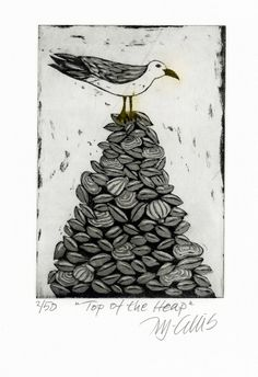 etching, seagull, sea shells, top of the heap, beach house decor, beach, seaside, monochrome, gray tones, black and white, printmaking by mariannjohansenellis on Etsy