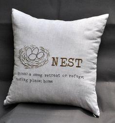 Bird Nest Pillow Cover Brown Striped Linen Nest by KainKain