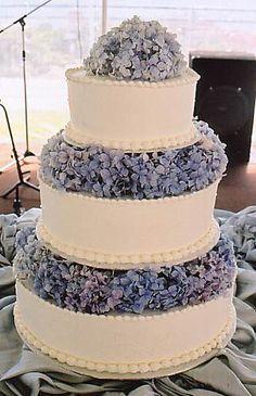 Hydrangea-decorated cake