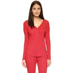 Love+Grace Farrah Henley PJ Top (580 NOK) ❤ liked on Polyvore featuring tops, jolly red, waffle top, red top, long sleeve tops, red long sleeve top and henley top