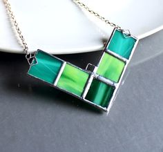 Modern Stained Glass Necklace in Greens. Starting at $1 on Tophatter.com!