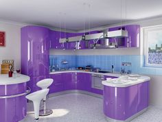15 Ways to Design Your Kitchen with Pretty Purple - http://www.amazinginteriordesign.com/15-ways-to-design-your-kitchen-with-pretty-purple/