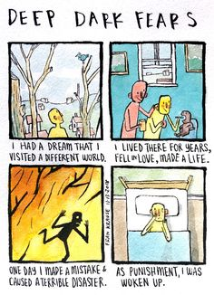 Only a dream away. A fear submitted by Kerry to Deep Dark Fears - thanks! My two Deep Dark Fea. Dark Thoughts, Thoughts And Feelings, Creepy Stories, Horror Stories, Fear Book, Deep Dark Fears, Dark Comics, Scary Facts, Deeper Life
