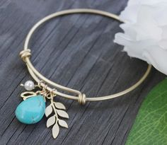 Leaf Branch Bracelet Gold and Turquoise Bangle by SarahOfSweden
