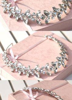 Rhinestone Leaf Bridal Necklace or Tiara