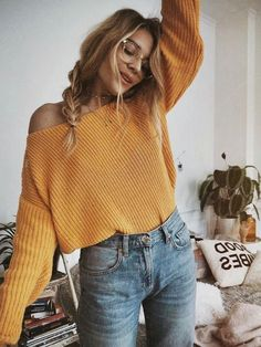 mustard yellow boat neck off the shoulder crop top sweater high-waisted light wash boyfriend jeans