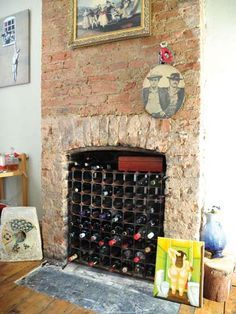 Wine Racks In Fireplace Unused Fireplace Converted To