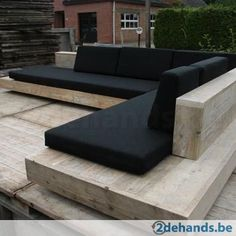 Some outdoor seating would be awesome! ^_^ Timber seating with black cushions. A beautiful and timeless combination. Pinned to Garden Design - Outdoor Furniture by Darin Bradbury. Modern Outdoor Chairs, Outdoor Seating, Outdoor Rooms, Outdoor Living, Outdoor Decor, Outdoor Sectional, Backyard Seating, Outdoor Lounge Furniture, Homemade Outdoor Furniture