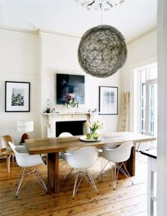 Luella Potter / Mark Tuckey via Inside Out {eclectic white rustic modern dining room} Eames chairs Dining Room Design, Dining Room Chairs, Dining Area, Arm Chairs, Kitchen Dining, Eames Dining Chair, Ghost Chairs, Parsons Chairs, Small Dining
