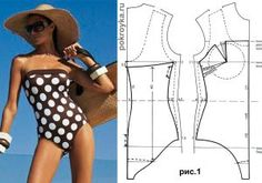 One-piece swimsuit without strips with patterns - Fashion & Crafts Diy Clothing, Clothing Patterns, Dress Patterns, Diy Summer Clothes, Underwear Pattern, Swimsuit Pattern, Sewing Lingerie, Make Your Own Clothes, African Print Fashion