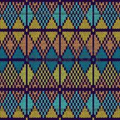 스타일 원활한 니트 Pattern.Blue 오렌지 옐로우   벡터 클립 아트   ID 4478898