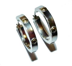 Fully Hallmarked 9ct White Gold Hoop Earrings with Yellow Gold  Bolt  Design