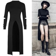 This luxurious full length witchy robe is perfect for cuties wanting to embrace their gothic and occult side while being fashionable and flattering! With appropriately placed cut outs on the sleeves, and an hourglass enhancing cut, this long black robe is versatile and can work with many outfits! Full long sleeves. Tee Dress, Black Tops, Black Tank Tops, Party Dress
