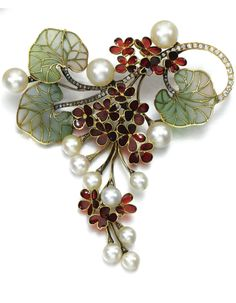 GEM-SET AND DIAMOND BROOCH  PENDANT. Designed as a cascade of flowers, set with plique-à-jour enamel, accented with cultured pearls, single-cut and rose diamonds, brooch and pendant fittings.