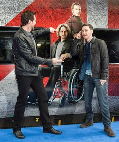 Hugh Jackman and James McAvoy are all smiles at the grand unveiling of the X-Men: Days of Future Past train. — at London Euston Station.