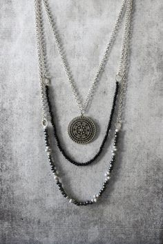 ANANKE JEWELRY Layered necklace, boho necklace, hippie necklace, mandala, boho jewelry, trends, silver necklace, handmade jewelry, gifts, bohemian, beaded necklace, beads, my style, style, look, kollier
