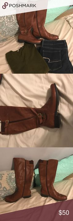 """Cognac brown Naturalizer wide calf boots! Beautiful cognac brown wide calf boots by Naturalizer in the Johanna style. I wore these two times and lost to much weight to wear them again. They have a distressed look darker toes and what look like scratches but they came that way it adds to the distressed look. Size 10 but run narrow and short. I wore a 9.5 and bought these in a ten. The calf circumstance is 18"""" and has a 1"""" heel. Leather upper and made sole. Naturalizer Shoes"""